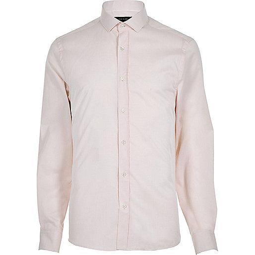 Pink twill slim fit shirt