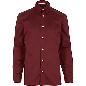 Dark red twill slim fit shirt