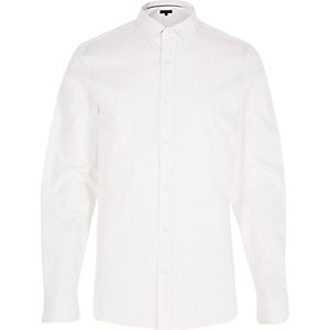 White twill slim shirt