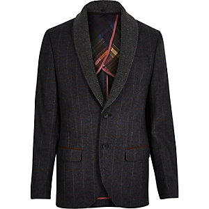 Navy checked shawl collar slim blazer
