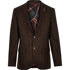 Brown wool-blend check slim blazer