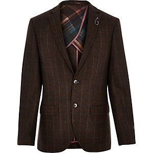 Brown wool-blend check slim blazer