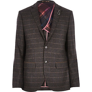 Brown check wool-blend slim blazer