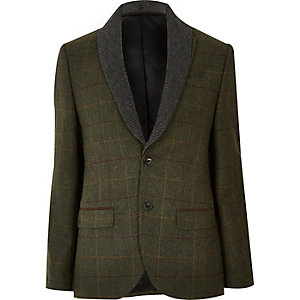 Green check wool-blend slim blazer