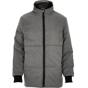 Grey casual padded winter coat