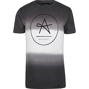 Grey Antioch faded brand print t-shirt