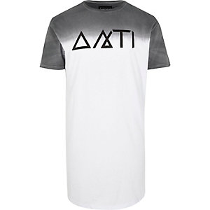 White Antioch faded longline t-shirt