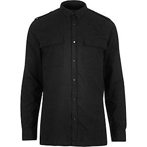Black military two pocket shirt