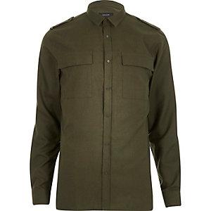 Green military two pocket shirt