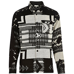 Ecru tribal print shirt