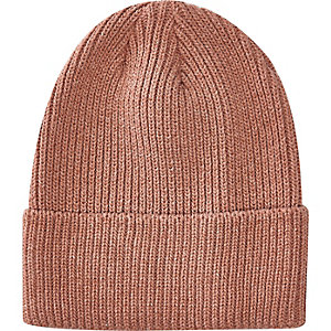 Pink turn up beanie hat