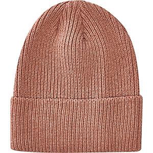Pink turn up beanie hat