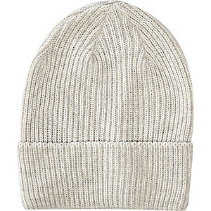 Ecru turn up beanie hat