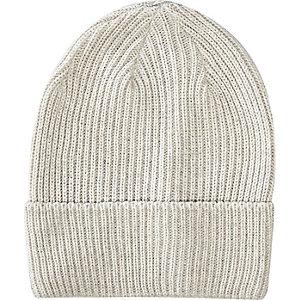 Ecru turn up beanie hat