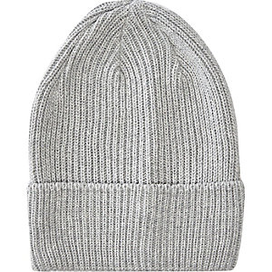 Grey turn up beanie hat
