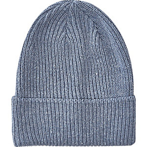 Blue turn up beanie hat