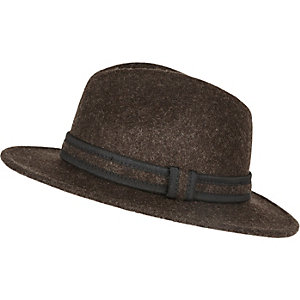 Dark brown wool fedora hat