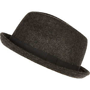 Grey wool trilby hat