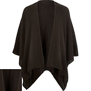 Dark brown knitted cape