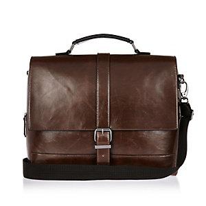 Dark brown buckle satchel