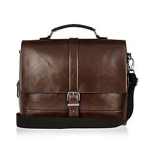 Dark brown buckle satchel