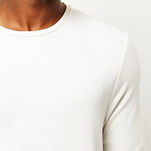 White textured side zip top