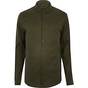 Khaki casual button through jersey shirt