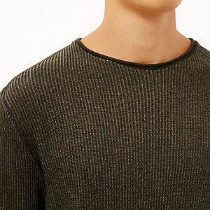Khaki green lightweight plaited jumper