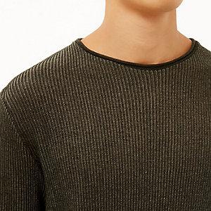 Khaki green lightweight plaited sweater