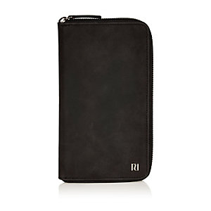 Black rubberised travel document holder