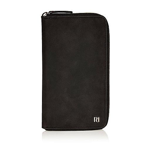 Black rubberised travel document holder
