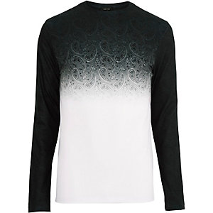 Grey faded paisley print top