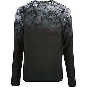 Black faded floral print top