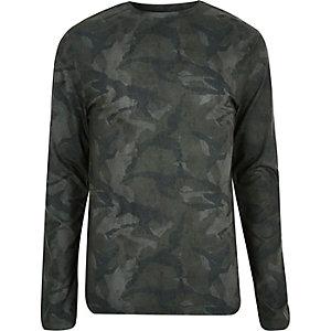 Dark green camo print top