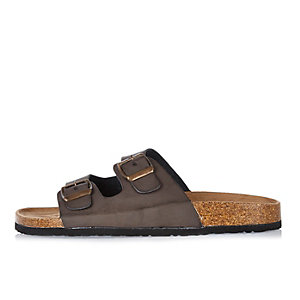 Brown double buckle sandals