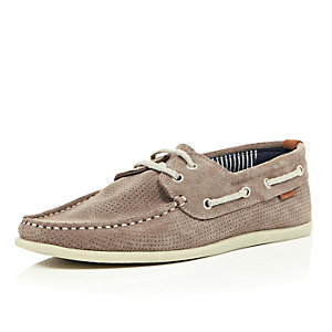 Stone grey perforated suede boat shoes