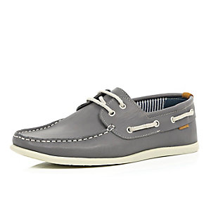 Grey nubuck leather boat shoes