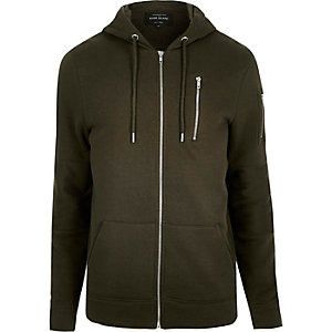 Green zip pocket long sleeve hoodie