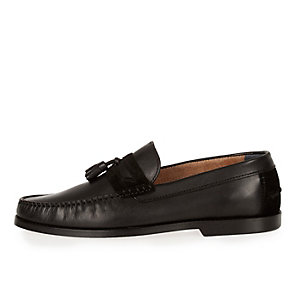 Black leather suede mix loafers