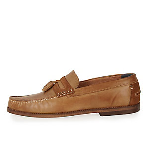 Brown leather heavy sole tassel shoes