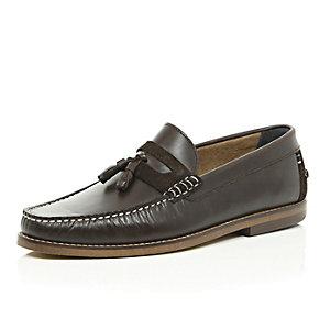 Dark brown leather heavy sole tassel shoes