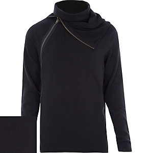 Black zipped roll neck jumper