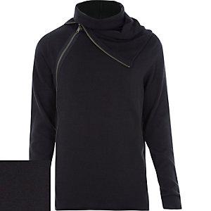 Black zipped roll neck jumper