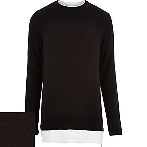 Black layered t-shirt jumper