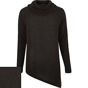 Black cowl neck asymmetric jumper
