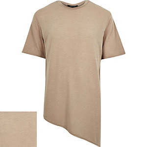 Brown asymmetric hem t-shirt