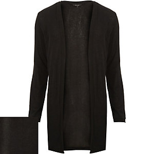 Black draped open front cardigan