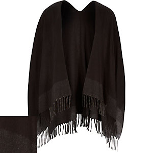 Black tassel scarf cape