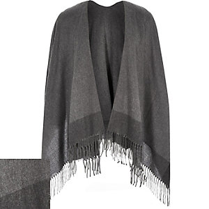 Grey tassel scarf cape