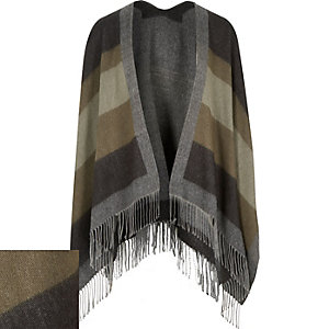 Grey stripe tassel scarf cape